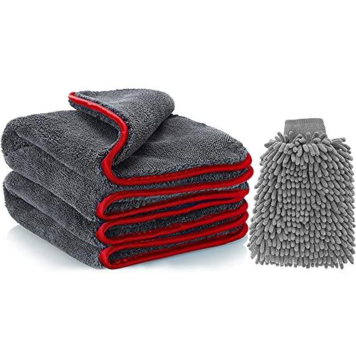 Plartree Toallas de Limpieza de Microfibra para Coche con Guante de Chenilla Lavado de Coche, Multiuso 1200 GS paños de Limpieza de Lana de Coral Super Absorbente, para Pulido, Lavado - 40 x 40 cm