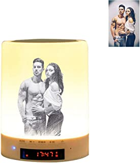 Personalized Photo Night Light Bluetooth Speaker, Bluetooth Speaker with Lights Bluetooth Speaker Lamp with USB Port for Bedroom Christmas Gifts