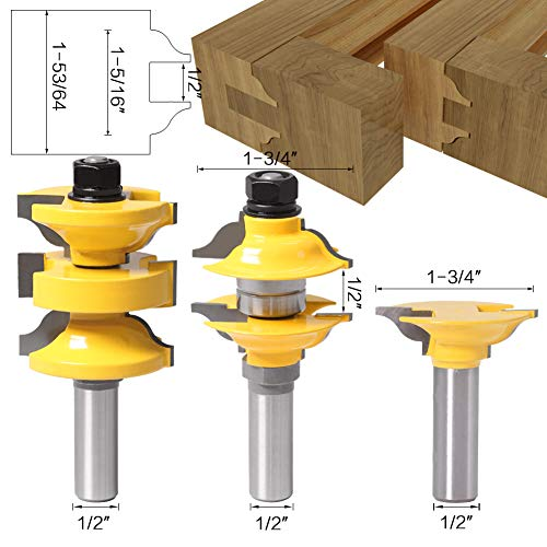 DBoyun 3pcs/Set Classical Extended Tenon Entry Door Rail and Stile Router Bit Set Woodworking Milling Cutter Door Frame Tenon and Knives Cutting with 1/2