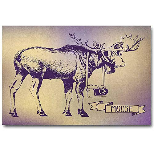 ScottDecor Moose Flower Wall Decor Hipster Deer with Shade Sunglasses and Camera Vintage Ombre Design Funny Animal Art Best Gifts for Women 2020 Purple Beige L36 x H24 Inch