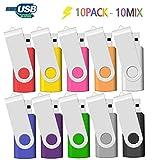 Memoria USB 2GB 10 Unidades, JBOS 2GB Memoria Flash USB 2.0 10 Piezas, Pendrive 2GB, 2 GB, Multicolor