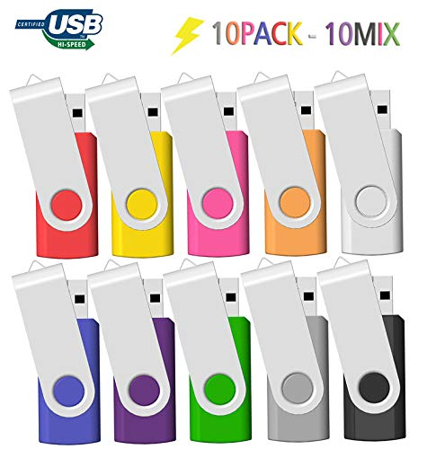 Memoria USB 2GB 10 Unidades, JBOS 2GB Memoria Flash USB 2.0 10 Piezas, Pendrive 2GB, 2 GB, Multicolor