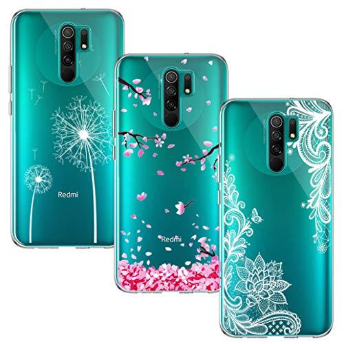 Yoowei [3-Pack] Funda para Xiaomi Redmi 9, Transparente con Dibujos Ultra Fino Suave TPU Silicona Protector Carcasa para...
