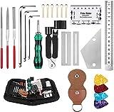 Gitarren-Werkzeug-Set zur Reparatur, 26-teiliges Gitarrenpflege-Reinigungs inkl. Saitenkurbel, Gitarrensaiten, Gitarrenplektren, Gitarrenstegstifte für Gitarre, Ukulele, Bass, Mandoline, Banjo