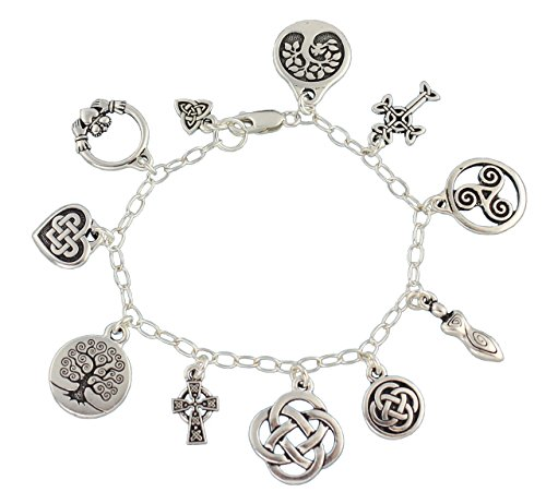 Night Owl Jewelry Celtic Symbols Silver Charm Bracelet - Claddagh, Celtic Knots, Tree of Life, Cross, Goddess- 7 Inches (S)