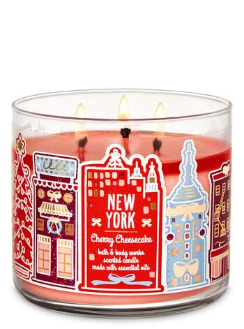 Bath and Body Works White Barn New York Cherry Cheesecake 3 Wick Candle 14.5 Ounce Winter 2019