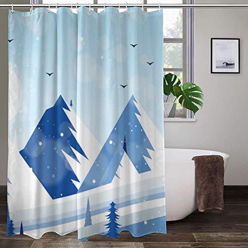XCBN Cortina de Ducha escénica Invierno Copo de Nieve árbol Lago de Hielo Cubierto de Nieve decoración de baño Cortina de Ducha de Tela Impermeable A2 150x200cm