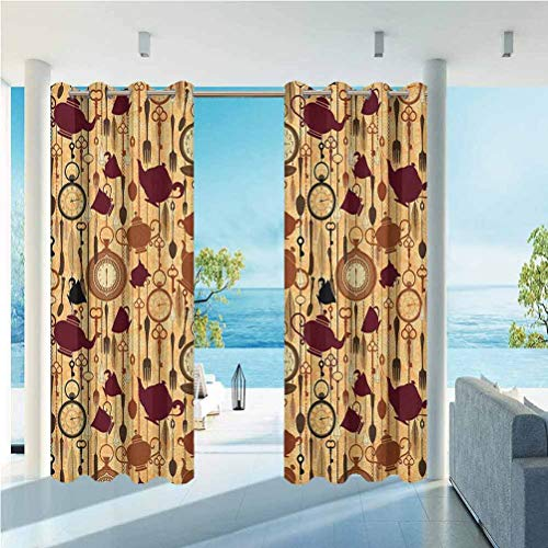 Tea Party Home Fashions Curtain Terrace Near Bushes and Villa Yard Breakfast Time Items Teacup Forks Spoons Chain Together Victorian Style Print Brown Redwood 100'W by 84'L(K254cm x G213cm)