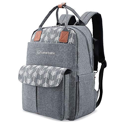 Lekebaby Large Nappy Changing Backpack Bag with Changing Mat, Arrow Print, Grey