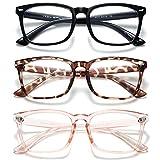 HILBALM Blue Light Blocking Glasses 3 Pack Women and Man Computer Eyeglasses Frame Glasses (Black + Leopard+Pink)