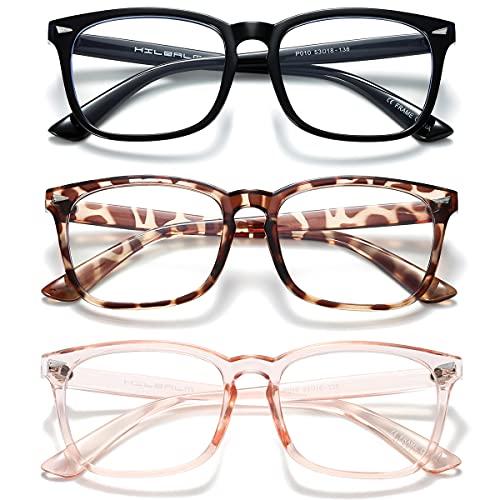 HILBALM (Paquete 3)Gafas con Filtro de luz Azul bloqueo de luz azul, Gafas con Filtro - Anti Luz Azul para Ordenador, Anti-reflejantes para Hombre y Mujer(Negro, leopardo, rosa/paquete 3)