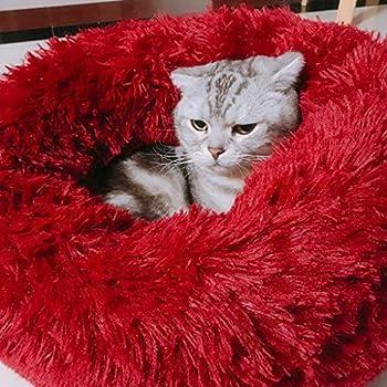 sunnymi® Nid de Compagnie Lit de couchage de Litière de chat PV de Sommeil Profond de Litière Confortable de Chien de Chenil de Peluche Convient Animaux Domestiques aux Chiens et aux Chats (S, Du vin)