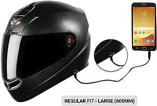 Steelbird SBA-1 7Wings HF Dashing Full Face Helmet and Detachable Handsfree Device (Regular Fit Large 600 MM, Dashing Black with Smoke Visor)