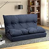 Floor Couch Foldable Lazy Sofa Bed Adjustable Folding Fabric Chaise Lounge for Living Room and Bedroom (Navy Blue)