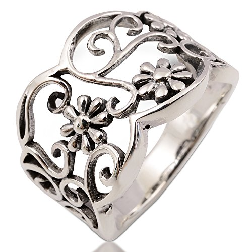 Anillo de flores Beautifu Handmadel 925 broche de plata de ley