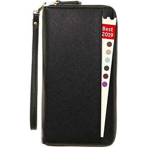 Portafoglio porta documenti porta passaporto con bloqueo RFID - Organizer per documenti di viaggio Custodia per documenti di famiglia Braccialetto da polso