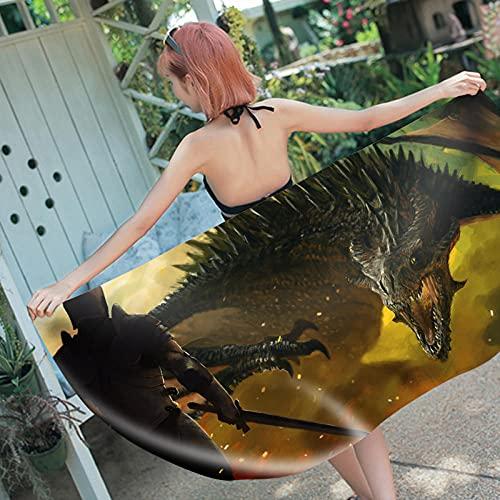Toalla Playa Guerrero Monstruo Toallas Playa Grandes Blando Microfibr Antiarena Toallas de Playa Mujer Niña Toallas Baño Secado Rápido Toalla Piscina Delgado y Ligero Portátil 150x180cm
