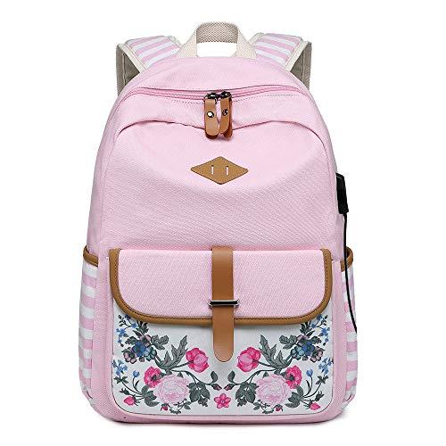 BAACD Junge Mädchen Rucksack USB Schultasche Reiserucksack University Campus Student Leichte wasserdichte große Kapazität schwarz Picknick-Rucksack Schultasche-Pink