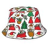 Lawenp Sombrero de Navidad Árbol Pájaro Búho Sombrero de Cubo con Estampado Unisex Sombreros de Pescador Sombrero de Pesca Gorra Plegable Reversible de Verano Mujeres Hombres Sombrero para el Sol al