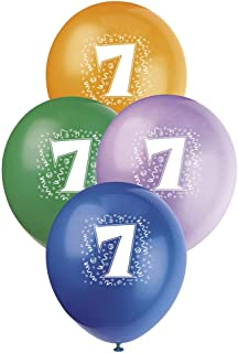 """Unique Party Number 7 Latex Balloons, Assorted Colours, 30cm/12"""", Pack of 6"""