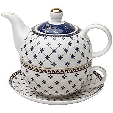 Grace Teaware Porcelain 4-Piece Tea For One (Trellis Blue Gold Trimmed)