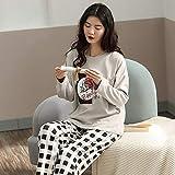 ZXXFR Pijamas de Mujer Cárdigan de algodón con Hojas de Ginkgo de Manga Larga Conjuntos de Pijama,Pijama Set Mujer 2 Piezas, cómodo y Transpirable Suave Ropa de casa