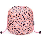 Barrel Makeup Bag Travel Drawstring Cosmetic Bag Large Toiletry Organizer Waterproof for Women and Girls (Large, Leopard)
