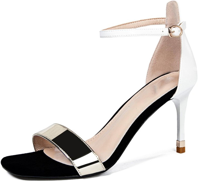 JIANXIN High Heel Sandaletten Frau Sommer Wild Sexy High Heels Wort Mit Offener Zehe Feine Ferse Sandalen Frau (Farbe   Wei, gre   EU 36 US 5.5 UK 3.5 JP 23cm)