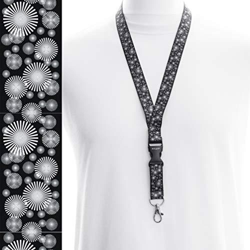 Cinta colgante para soporte de tarjetas de identificación con clip metálico, color 1 Circles black