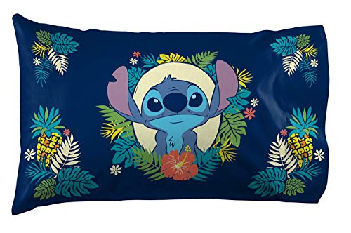 Jay Franco Lilo & Stitch Hawaii Garden 1 Pack Pillowcase - Double-Sided Kids Super Soft Bedding (Official Product)