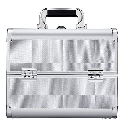 Yaheetech cosmeticakoffers zilver beauty case aluminium make-up koffer make-up trolley