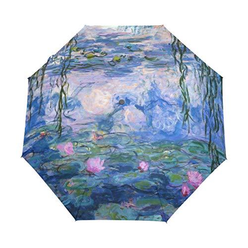 Vipsk Folding Umbrella Claude Monet Water Lilies Painting Travel Umbrella Windproof Automatic Compact Rain