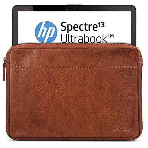 ROYALZ Tasche Leder für HP Spectre x360 Ledertasche (auch mit HP EliteBook x360 kompatibel) (13.3 Zoll) Lederhülle Hülle Sleeve Cover Schutztasche Schutzhülle Etui Vintage, Farbe:Cognac Braun