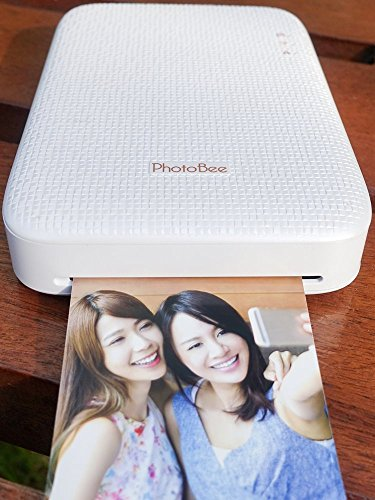 PhotoBee Photo Printer Family Package - White (with 48 Sheets of Sticky Backed Photo Paper, 2 Folding Albums, 10 Corrugated Cardboard Photo Frames)