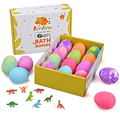 Airdom Dinosaur Bath Bombs for Kids - Set of 12 Egg Bubble Fizzies - Surprise Dino Toy Inside - Gentle and Kids Safe Spa Bath Fizz Balls Kit - Ideal Birthday Christmas or Easter Gifts for Boys & Girls