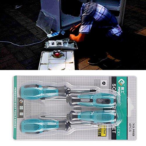 Aeloa 4-delige Y-type-schroevendraaierset - magneetpunten en chroom-vanadium-stalen messen met opbergkast - voor reparatieprojecten thuis