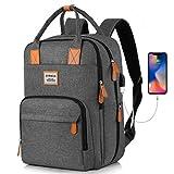 Rucksack Damen mit Laptopfach 15.6 Zoll, wasserdichte Schulrucksack Groß, Schule Rucksäcke Tasche mit USB Ladeanschluss, für Student Lehrer, Arbeit, 20-40L