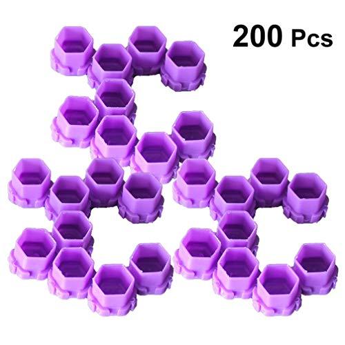 HEALLILY 200 Pcs Tatouage Encre Casquettes en Plastique Tasses d'encre Permanent Cils Maquillage Sourcils Tatouage Tatouage Pigment Conteneur (Rose)