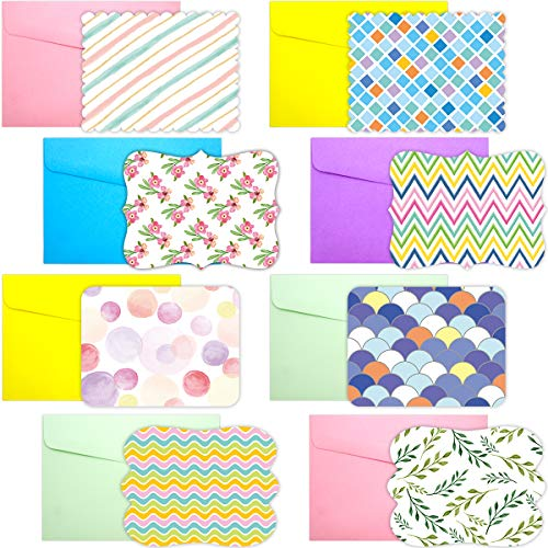 40 Single Panel Blank Cards with Envelopes Bright Pattern Watercolor Colorful Greeting Note Cards Office School Home Kids