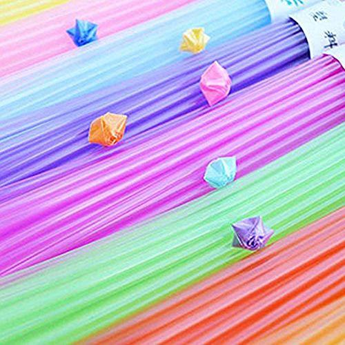 MEISO Origami Papier Set, 200 stks Nieuwe Craft Rietjes Partij Origami Vouwsterren Rose Bloem Rietje Kleurrijke Drinkende Kunststof bij Willekeurige Bruiloft Verjaardagscadeau
