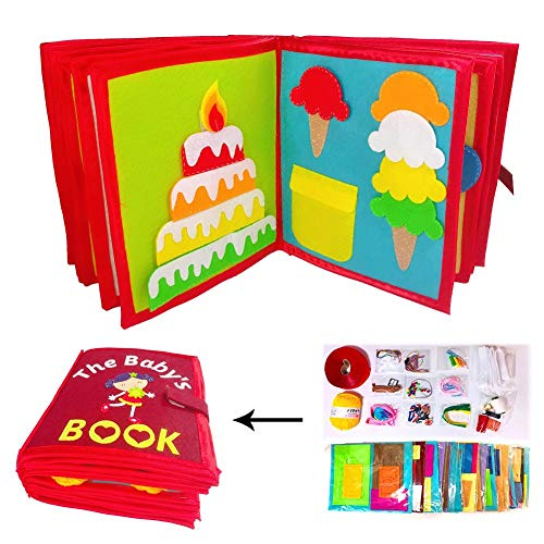 isilky Quiet Book 26 Themes - Ultra Soft Baby Books Touch and Feel Cloth Book, 3D Books Fabric Activity for Babies/Toddlers, Learning to Sensory Book、Identify Skill Boys and Girls, Busy Book