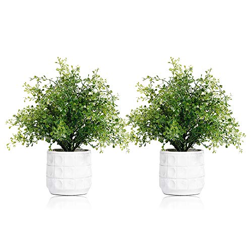 Set of 2 Mini Potted Artificial Pearl Grass Plant with in Cement Pots Small Houseplants Faux Planter Green Fake Plastic Bonsai Indoors Bonsai Home Bathroom Kitchen Office Desk Wedding Decorations