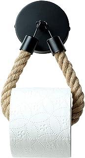 CJBIN Porte-rouleau de papier toilette en bois, noir mat, montage mural, porte-papier toilette, porte-rouleau de papier to...