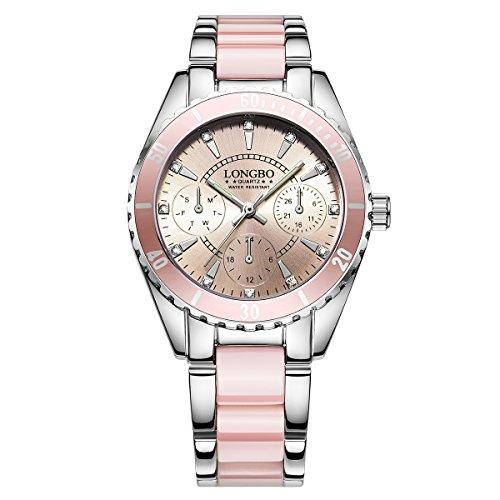 la Nueva Manera Tres DILAS Reloj de señora de cerámica con una Elegante de Metal de Color Rosa Ver Reloj de Cuarzo Luminosa