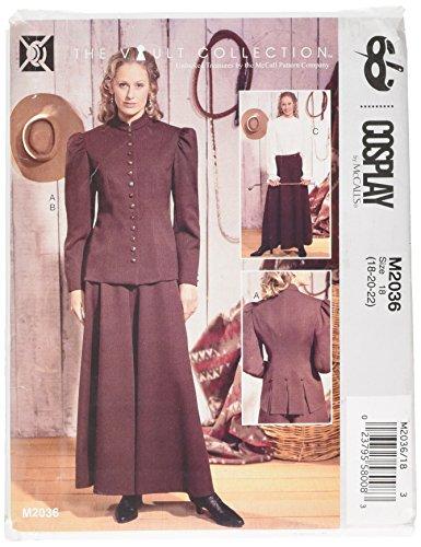 Cosplay By McCall's Puff Cap mouw jas/enkel lengte Culottes en lange mouwen blouse, multi-kleur,