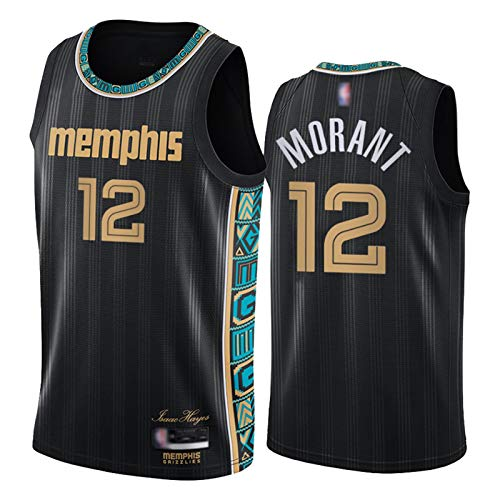 JA Morant Jersey Memphis Grizzlies # 12, Männer und Frauen Retro Weste 2021 Swingman Black Basketball Jersey T-Shirt Geschenk (S-XXL) Black 1-M