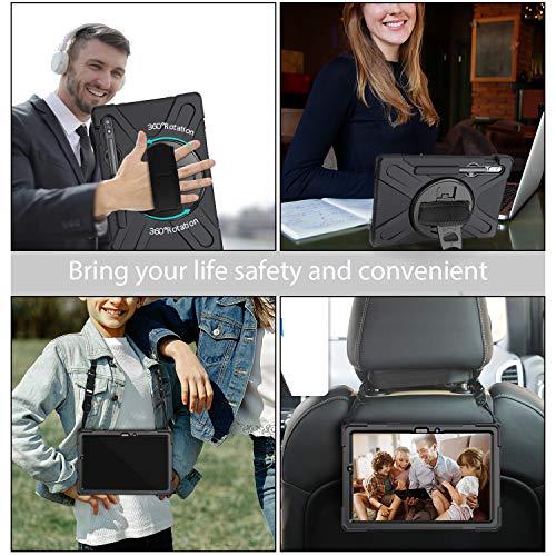 Gerutek Hülle für Samsung Galaxy Tab S7, Stoßfeste Robust Panzerhülle mit Stifthalter, Drehbar Stände, Handschlaufe, Schultergurt und Schutzhülle für Samsung galaxy Tab S7 11 Zoll SM-T870/875, Schwarz