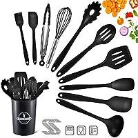 beyaobn utensili da cucina in silicone da 22 pezzi, utensili da cucina in silicone resistenti al calore, utensili da cucina antiaderenti da cucina 10 set ganci da 12 s-nero