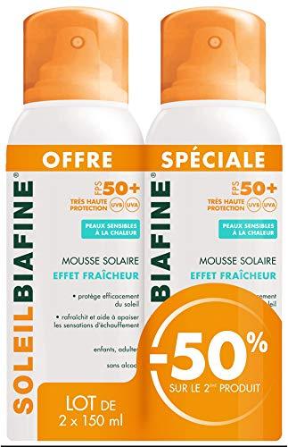 SoleilBiafine Mousse Solaire Effet Fraîcheur SPF 50+ Lot de 2 x 150 ml