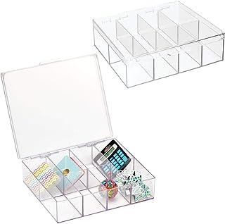 mDesign pot à crayons pratique pour articles de papeterie (lot de 2) – rangement carré pour fournitures de bureau, stylos,...